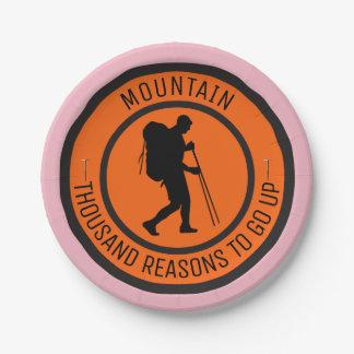 Mountain climbing paper plate