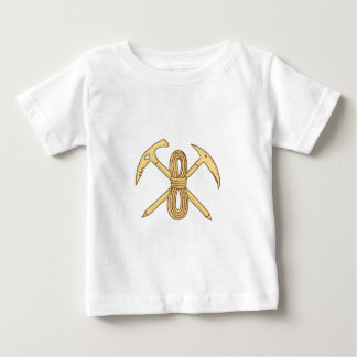 Mountain Climbing Pick Axe Rope Crossed Drawing Baby T-Shirt