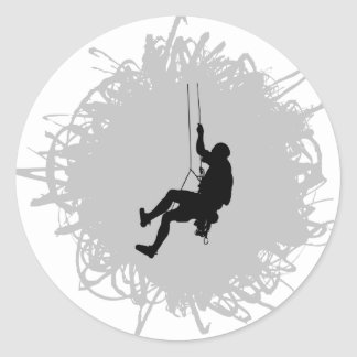 Mountain Climbing Scribble Style Classic Round Sticker