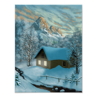 Mountain Cottage Poster