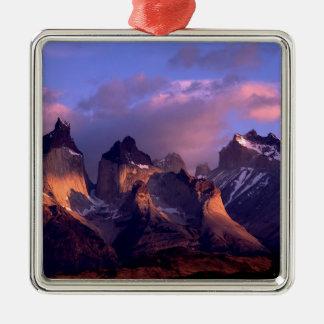 Mountain Cuernos Del Paine Andes Chile Silver-Colored Square Decoration