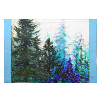 MOUNTAIN FOREST TREES IN BLUE PLACE MATS