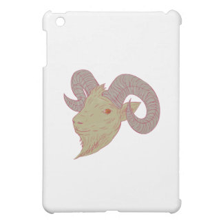 Mountain Goat Ram Head Drawing iPad Mini Cases