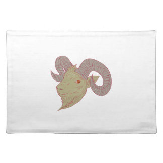 Mountain Goat Ram Head Drawing Placemat