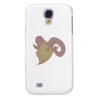 Mountain Goat Ram Head Drawing Samsung Galaxy S4 Covers