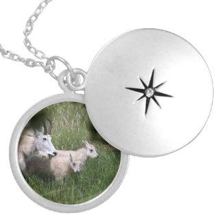 Mountain Goat Twins Round Locket Necklace
