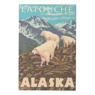Mountain Goats Scene - Latouche, Alaska Wood Prints