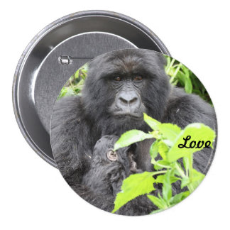 Mountain Gorilla Mother & Infant 7.5 Cm Round Badge
