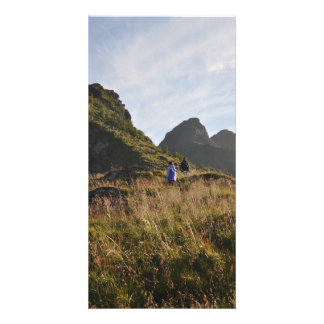 Mountain hiking in Lofoten, Norway in summertime Card