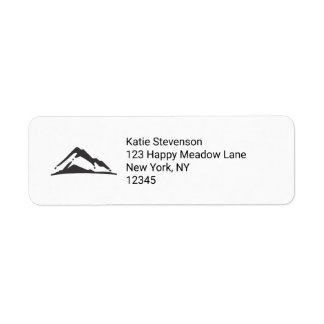 Mountain Illustration in Black Return Address Label