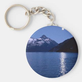 Mountain lake and the moon, British Columbia, Cana Keychain