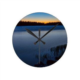 Mountain Lake Glow Round Clock