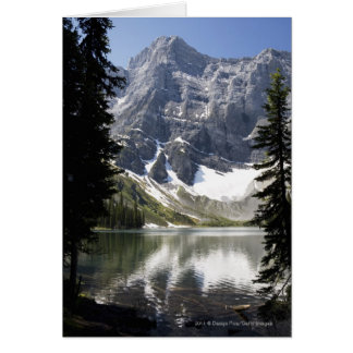 Mountain Lake Reflecting Mountain Framed By Trees Card