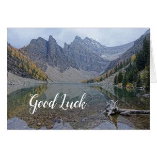 Mountain Lake Reflection Good Luck Blank Photo Card