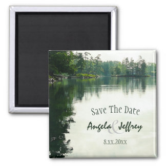 Mountain Lake reflection rustic save the date