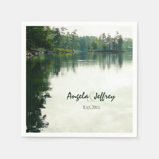 Mountain lake reflection rustic wedding disposable napkins