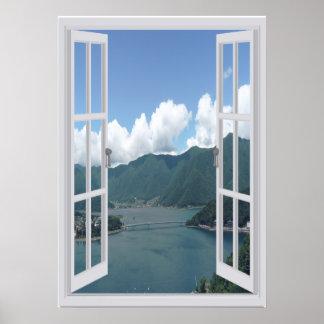 Mountain Lake Trompe l'oeil Faux Window Poster