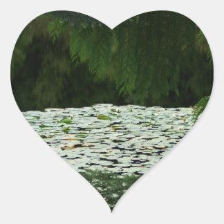 Mountain Lake Water Lilies Heart Sticker