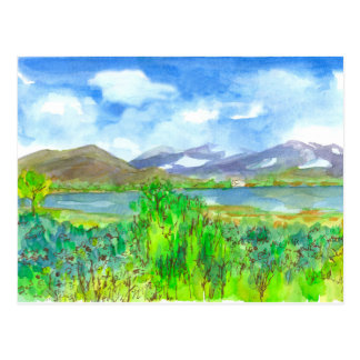 Mountain Lake Watercolor Landscape Painting Postcard