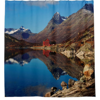 Mountain lake with red house shower curtain
