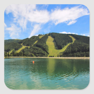 Mountain Lakes Reflection Square Sticker
