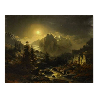 Mountain Landscape by Night Poster