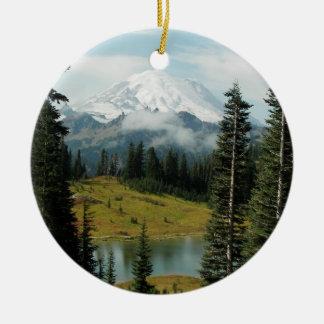 Mountain Landscape Photo Ceramic Ornament