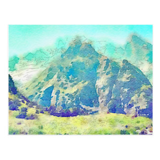 Mountain Landscape Watercolor Postcard