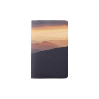 Mountain landscape with a fantastic sunset pocket moleskine notebook