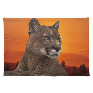 Mountain lion at sunset placemat
