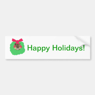 Mountain Lion Holiday Christmas Wreath Bumper Sticker