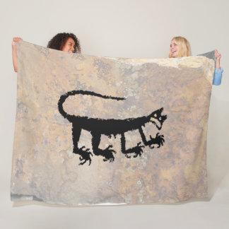 Mountain Lion Petroglyph Fleece Blanket