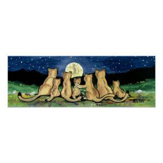 Mountain Lion Puma Cat Cubs Art Poster Cute Navy