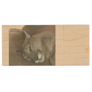 Mountain Lion USB Flash Wood USB Flash Drive