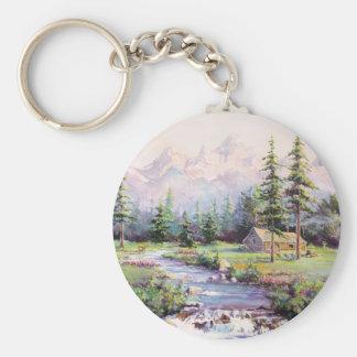 MOUNTAIN LOG CABIN by SHARON SHARPE Key Ring