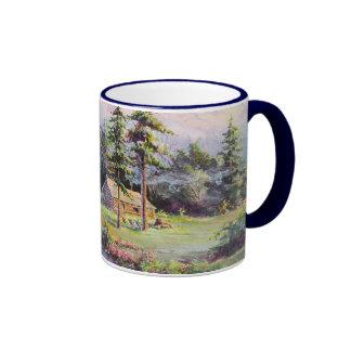 MOUNTAIN LOG CABIN by SHARON SHARPE Ringer Coffee Mug
