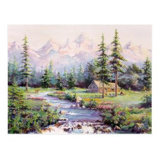 MOUNTAIN LOG CABIN by SHARON SHARPE Postcard