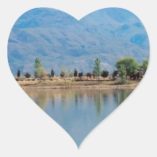 Mountain Mirror Lake Heart Sticker