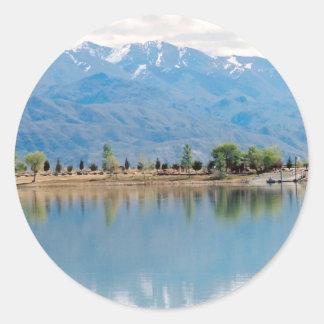 Mountain Mirror Lake Round Sticker