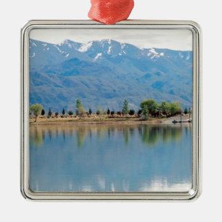 Mountain Mirror Lake Silver-Colored Square Decoration