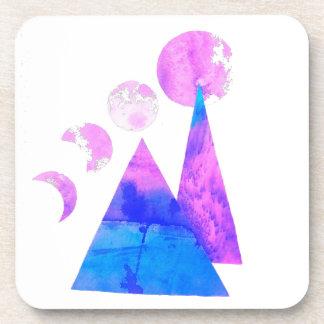 Mountain moon watercolor coaster