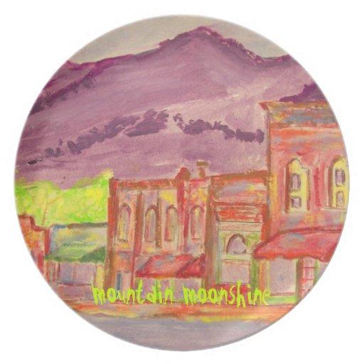 mountain moonshine art party plates