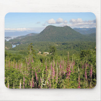 Mountain, Ocean, and Wildflowers Photo Mouse Pad