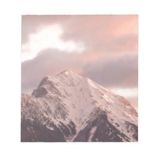 Mountain peak at sunrise notepad