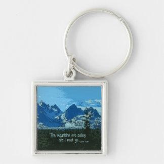 Mountain Peaks digital art - John Muir quote Silver-Colored Square Key Ring