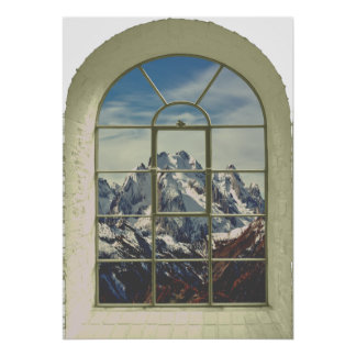 Mountain Peaks Faux Window View Poster