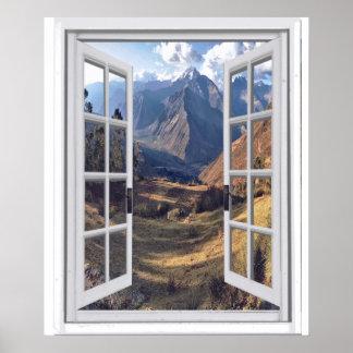 Mountain Peaks Trompe l'oeil Faux Window View Poster