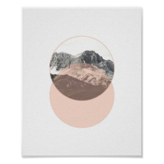 Mountain Photo Poster | Minimal Pink Art