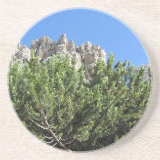 Mountain pine against italian Dolomites mountains Coaster
