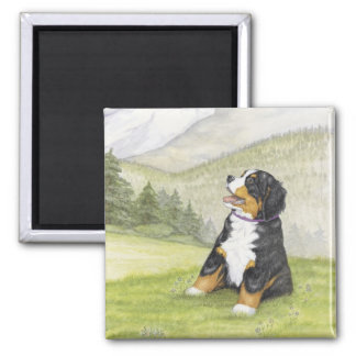 Mountain pup square magnet